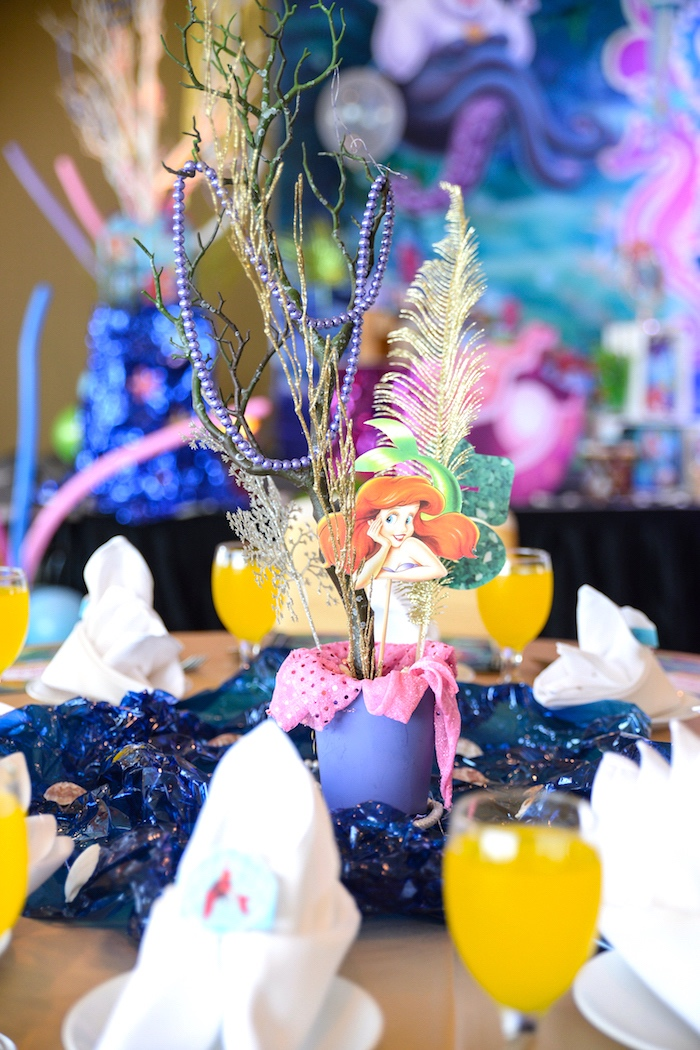 Little Mermaid table centerpiece from an Ariel the Little Mermaid Birthday Party on Kara's Party Ideas | KarasPartyIdeas.com (6)