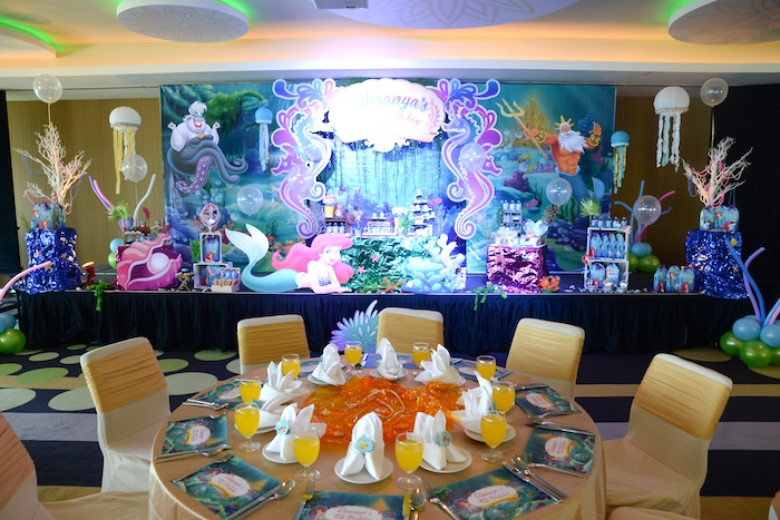 Guest table from an Ariel the Little Mermaid Birthday Party on Kara's Party Ideas | KarasPartyIdeas.com (24)