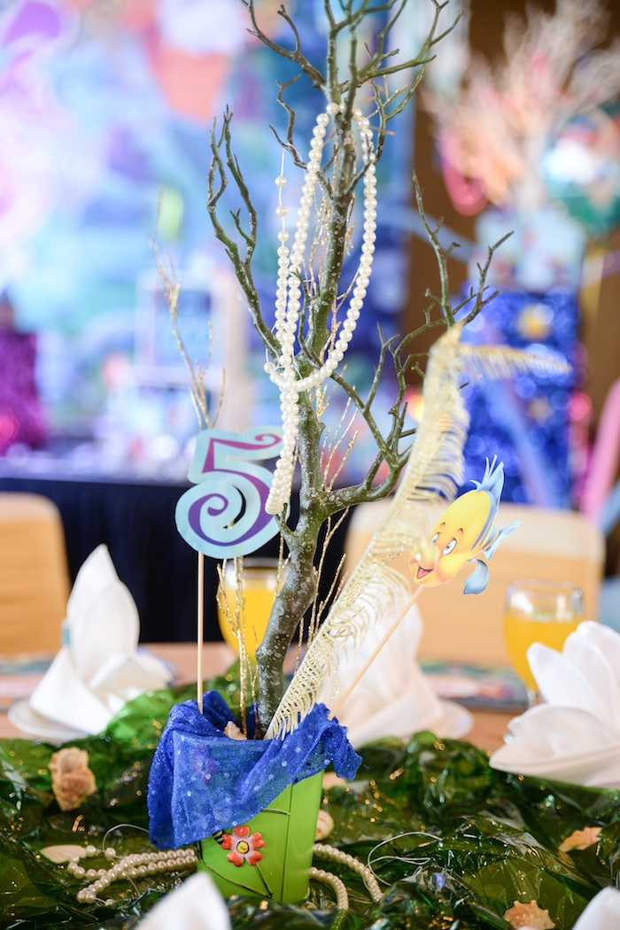 Little Mermaid table centerpiece from an Ariel the Little Mermaid Birthday Party on Kara's Party Ideas | KarasPartyIdeas.com (5)