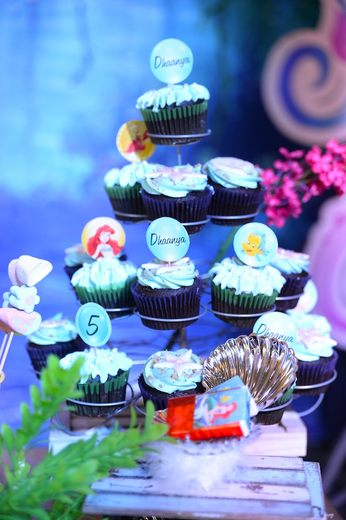Little Mermaid cupcakes from an Ariel the Little Mermaid Birthday Party on Kara's Party Ideas | KarasPartyIdeas.com (19)