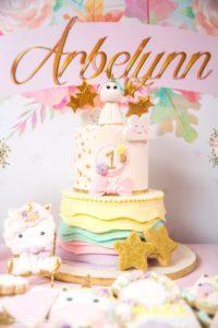 Cake from a Baby Unicorn 1st Birthday Party on Kara's Party Ideas | KarasPartyIdeas.com (26)