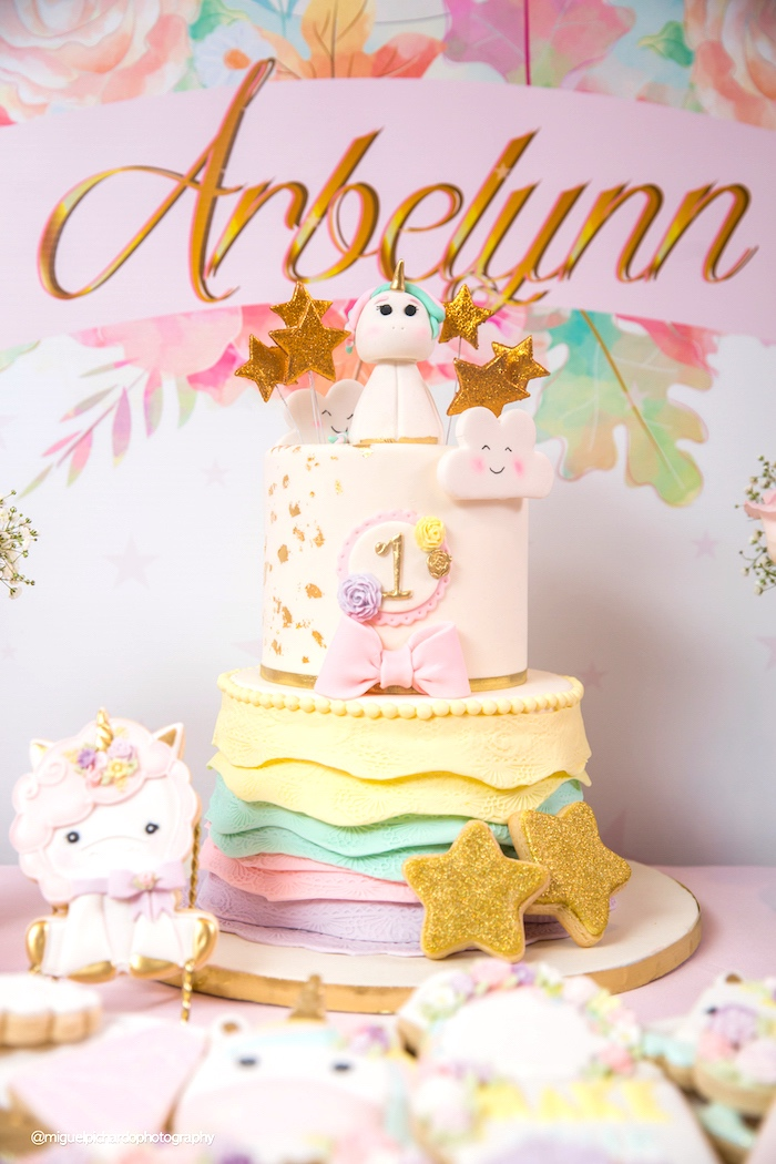 Cake from a Baby Unicorn 1st Birthday Party on Kara's Party Ideas | KarasPartyIdeas.com (26)