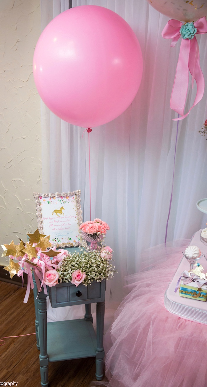 Pink jumbo balloon from a Baby Unicorn 1st Birthday Party on Kara's Party Ideas | KarasPartyIdeas.com (24)