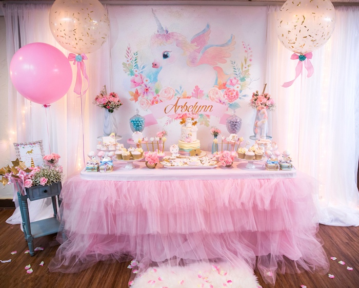 Full dessert table from a Baby Unicorn 1st Birthday Party on Kara's Party Ideas | KarasPartyIdeas.com (22)