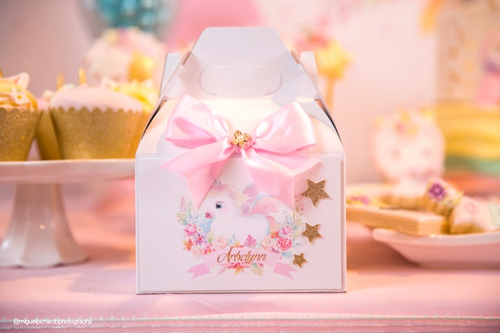 Gable favor box from a Baby Unicorn 1st Birthday Party on Kara's Party Ideas | KarasPartyIdeas.com (21)