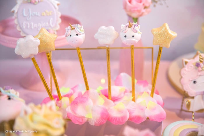 Unicorn and star cake pops from a Baby Unicorn 1st Birthday Party on Kara's Party Ideas | KarasPartyIdeas.com (19)