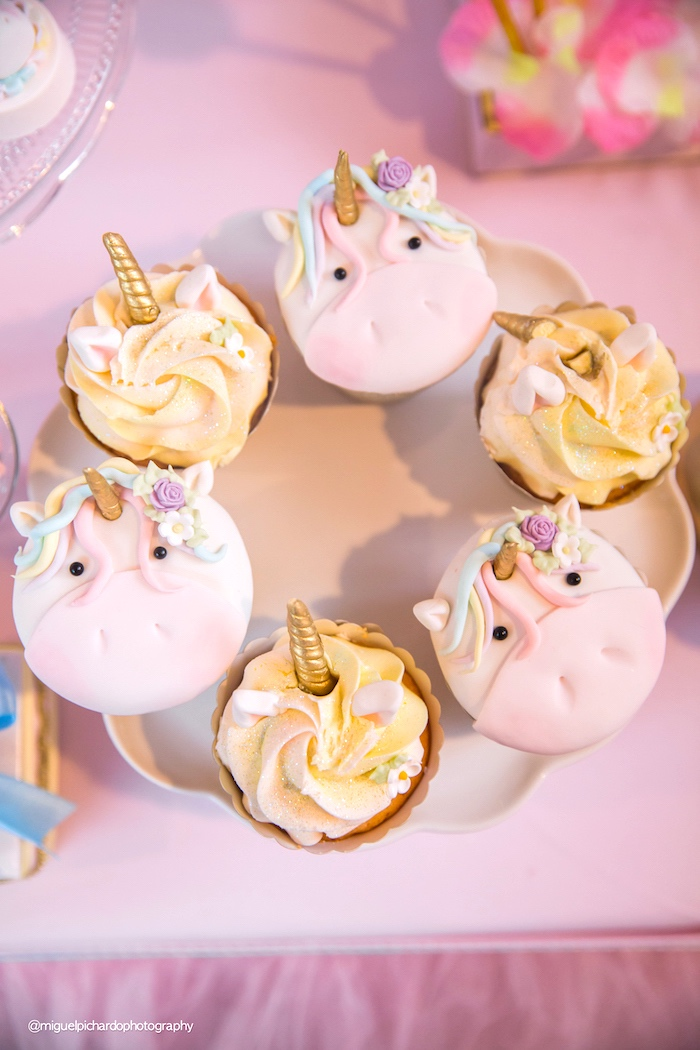 Unicorn cupcakes from a Baby Unicorn 1st Birthday Party on Kara's Party Ideas | KarasPartyIdeas.com (18)