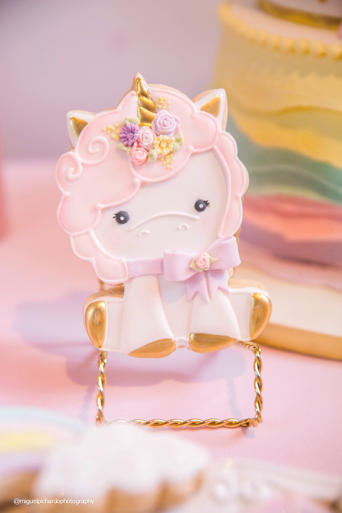 Baby Unicorn Cookie from a Baby Unicorn 1st Birthday Party on Kara's Party Ideas | KarasPartyIdeas.com (15)