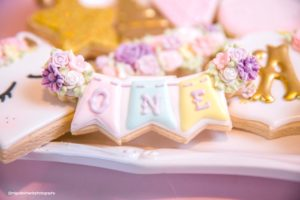 """One"" banner cookie from a Baby Unicorn 1st Birthday Party on Kara's Party Ideas 