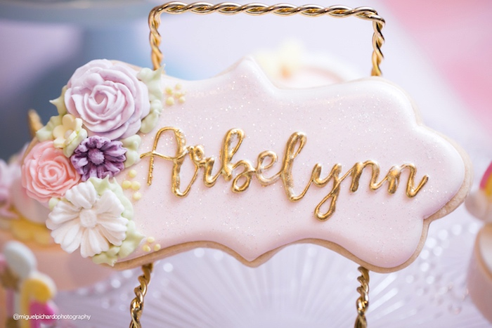 Floral name cookie from a Baby Unicorn 1st Birthday Party on Kara's Party Ideas | KarasPartyIdeas.com (11)