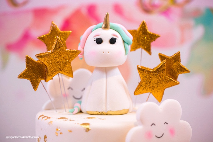 Unicorn Cake Topper From A Baby 1st Birthday Party On Karas Ideas
