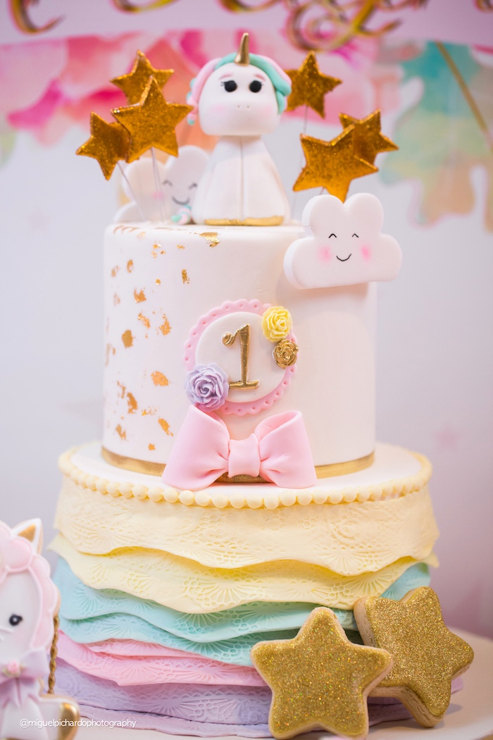 Baby Unicorn Cake from a Baby Unicorn 1st Birthday Party on Kara's Party Ideas | KarasPartyIdeas.com (9)