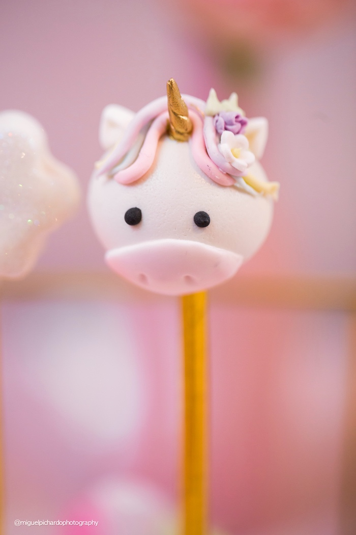 Unicorn cake pop from a Baby Unicorn 1st Birthday Party on Kara's Party Ideas | KarasPartyIdeas.com (8)