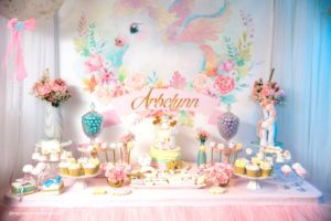 Unicorn dessert spread from a Baby Unicorn 1st Birthday Party on Kara's Party Ideas | KarasPartyIdeas.com (34)