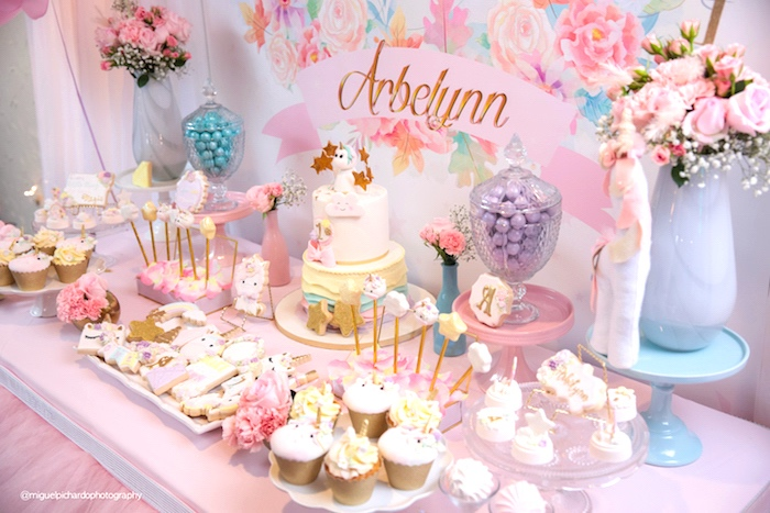 Dessert spread from a Baby Unicorn 1st Birthday Party on Kara's Party Ideas | KarasPartyIdeas.com (5)