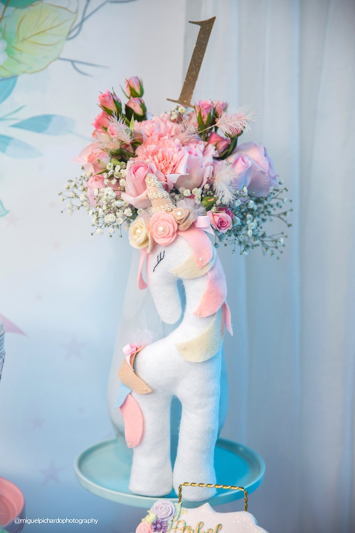 Plush unicorn & blooms from a Baby Unicorn 1st Birthday Party on Kara's Party Ideas | KarasPartyIdeas.com (33)