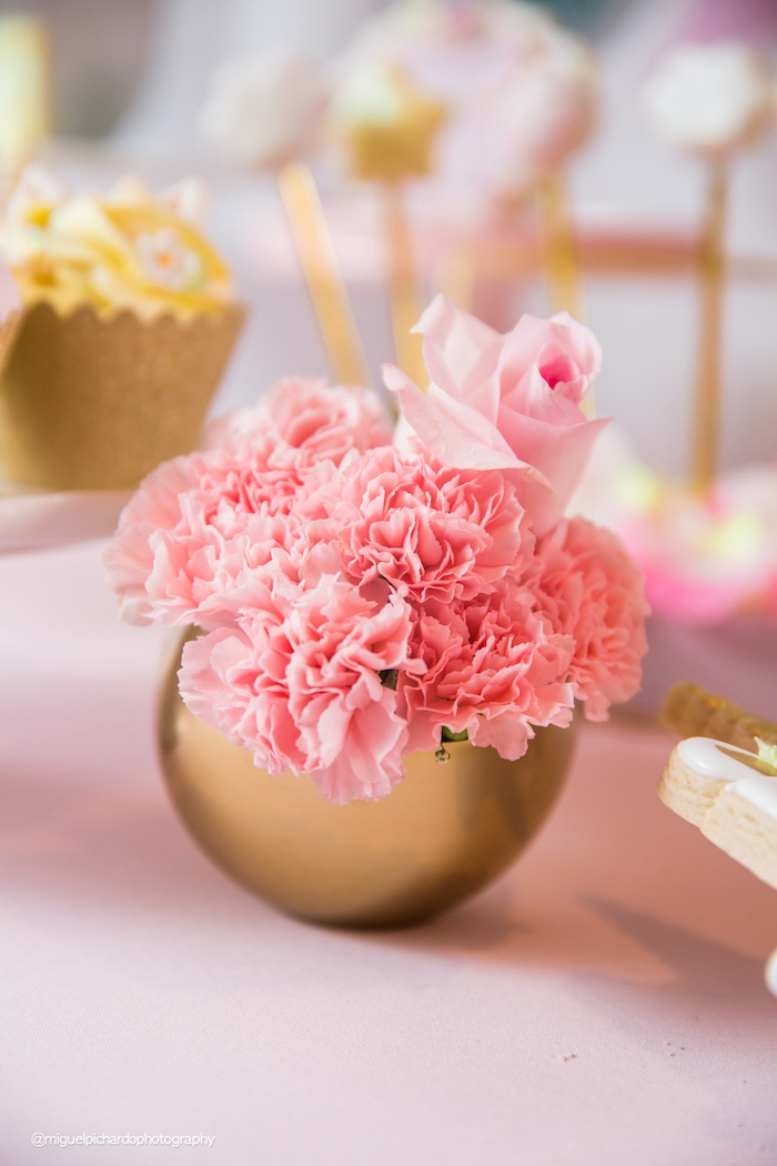 Floral arrangement from a Baby Unicorn 1st Birthday Party on Kara's Party Ideas | KarasPartyIdeas.com (29)