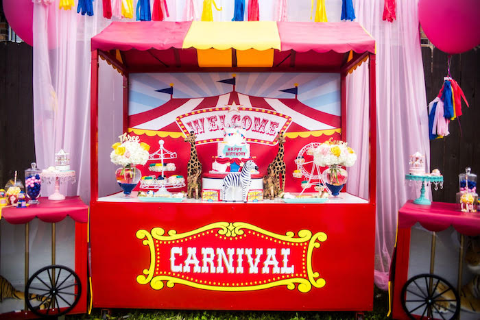 Dessert stand from a Backyard Carnival Birthday Party on Kara's Party Ideas | KarasPartyIdeas.com (17)