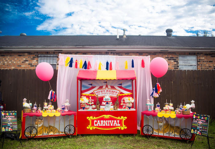 Carnival train dessert spread from a Backyard Carnival Birthday Party on Kara's Party Ideas | KarasPartyIdeas.com (13)