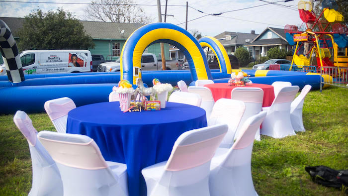 Guest tables + partyscape from a Backyard Carnival Birthday Party on Kara's Party Ideas | KarasPartyIdeas.com (27)