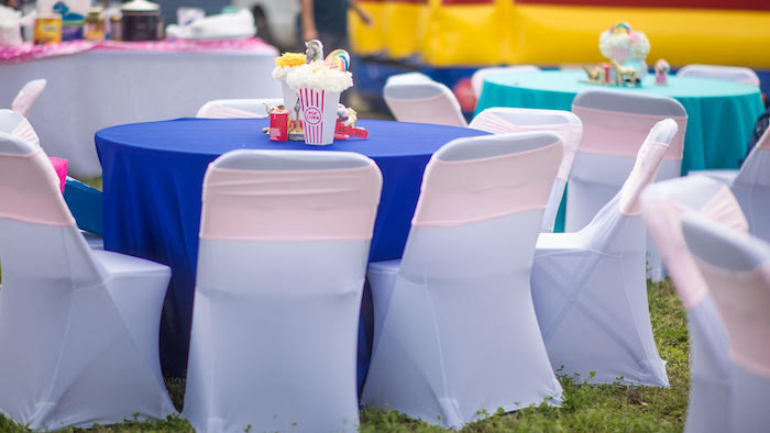 Guest table from a Backyard Carnival Birthday Party on Kara's Party Ideas | KarasPartyIdeas.com (8)