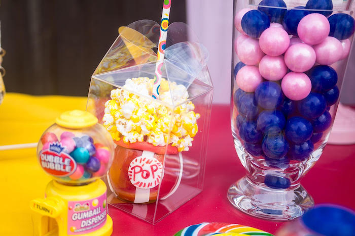 Candy apple + popcorn from a Backyard Carnival Birthday Party on Kara's Party Ideas | KarasPartyIdeas.com (6)