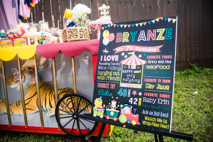 Carnival themed highlight board from a Backyard Carnival Birthday Party on Kara's Party Ideas | KarasPartyIdeas.com (22)