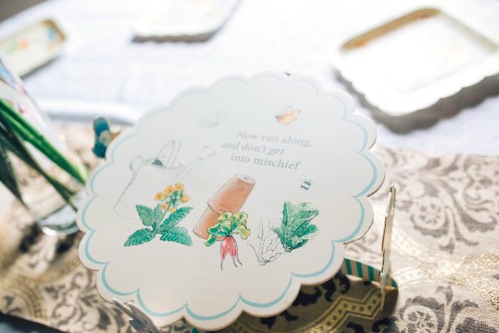 Cardboard dessert pedestal from a Beatrix Potter's Peter Rabbit Inspired Birthday Party on Kara's Paty Ideas   KarasPartyIdeas.com (23)