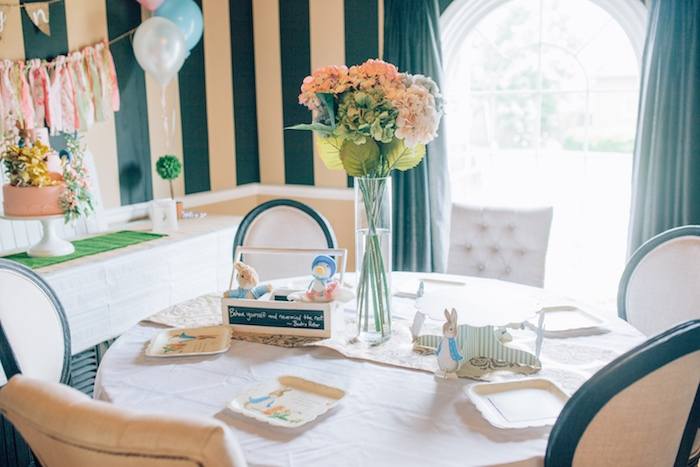 Guest table from a Beatrix Potter's Peter Rabbit Inspired Birthday Party on Kara's Paty Ideas | KarasPartyIdeas.com (22)