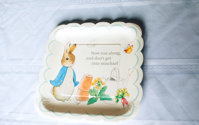 Peter Rabbit plate from a Beatrix Potter's Peter Rabbit Inspired Birthday Party on Kara's Paty Ideas | KarasPartyIdeas.com (21)