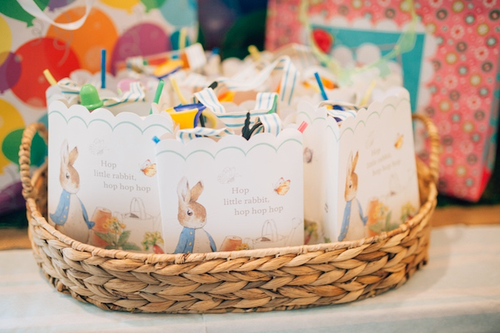 Peter Rabbit gift bags from a Beatrix Potter's Peter Rabbit Inspired Birthday Party on Kara's Paty Ideas   KarasPartyIdeas.com (19)
