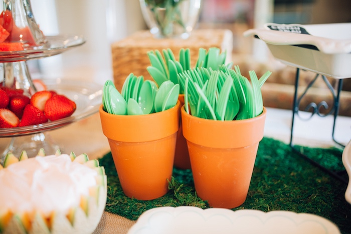 Utensils placed in terra cotta pots from a Beatrix Potter's Peter Rabbit Inspired Birthday Party on Kara's Paty Ideas   KarasPartyIdeas.com (16)