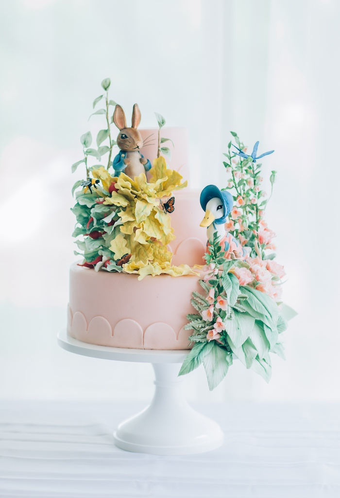 Beatrix Potter themed cake from a Beatrix Potter's Peter Rabbit Inspired Birthday Party on Kara's Paty Ideas | KarasPartyIdeas.com (33)