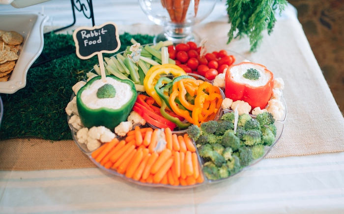 Veggie tray from a Beatrix Potter's Peter Rabbit Inspired Birthday Party on Kara's Paty Ideas | KarasPartyIdeas.com (12)