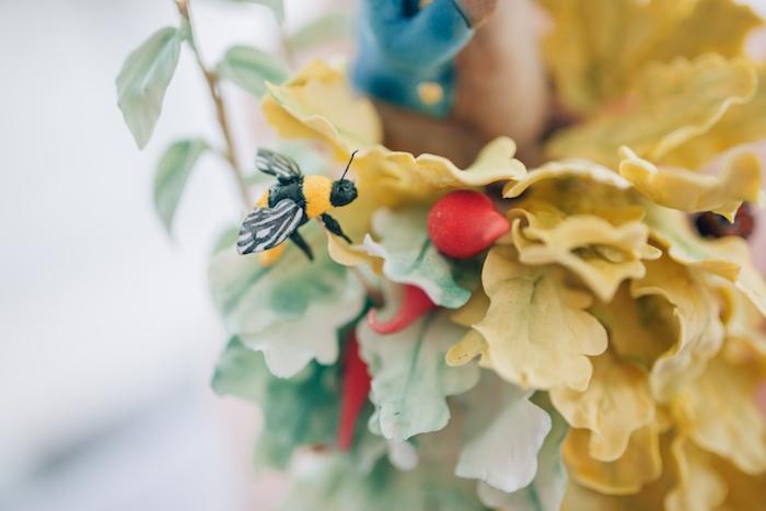Sugar bumblebee from a Beatrix Potter's Peter Rabbit Inspired Birthday Party on Kara's Paty Ideas   KarasPartyIdeas.com (30)