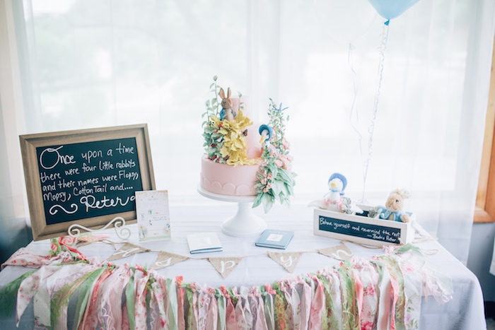 Cake table from a Beatrix Potter's Peter Rabbit Inspired Birthday Party on Kara's Paty Ideas | KarasPartyIdeas.com (26)