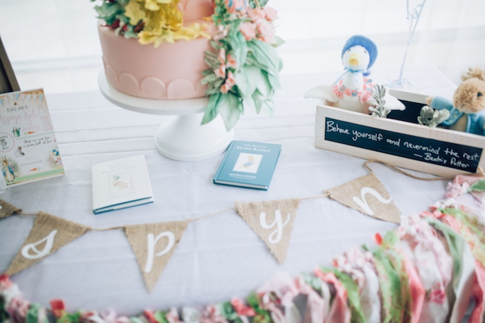 Burlap banner + cake table decor from a Beatrix Potter's Peter Rabbit Inspired Birthday Party on Kara's Paty Ideas   KarasPartyIdeas.com (25)