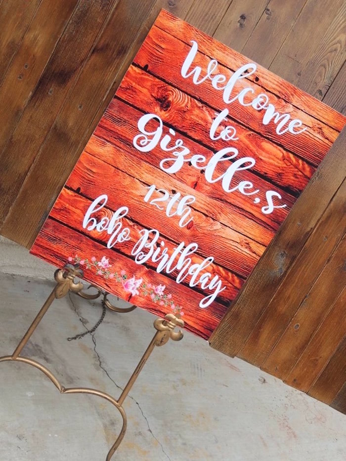 Wood print welcome sign from a Boho Chic Birthday Party on Kara's Party Ideas | KarasPartyIdeas.com (13)