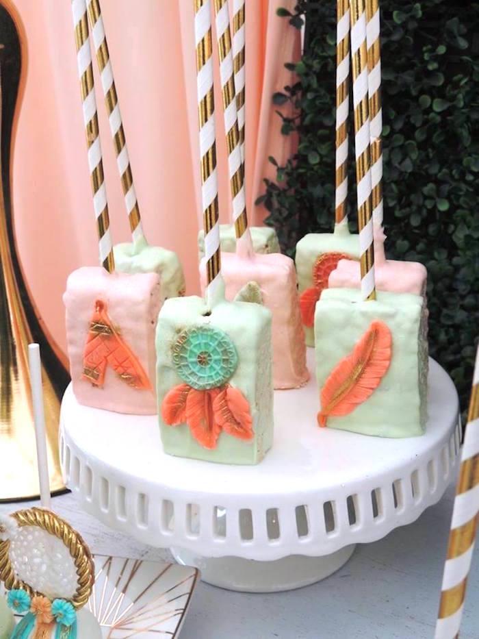 Boho crispy treats from a Boho Chic Birthday Party on Kara's Party Ideas   KarasPartyIdeas.com (11)