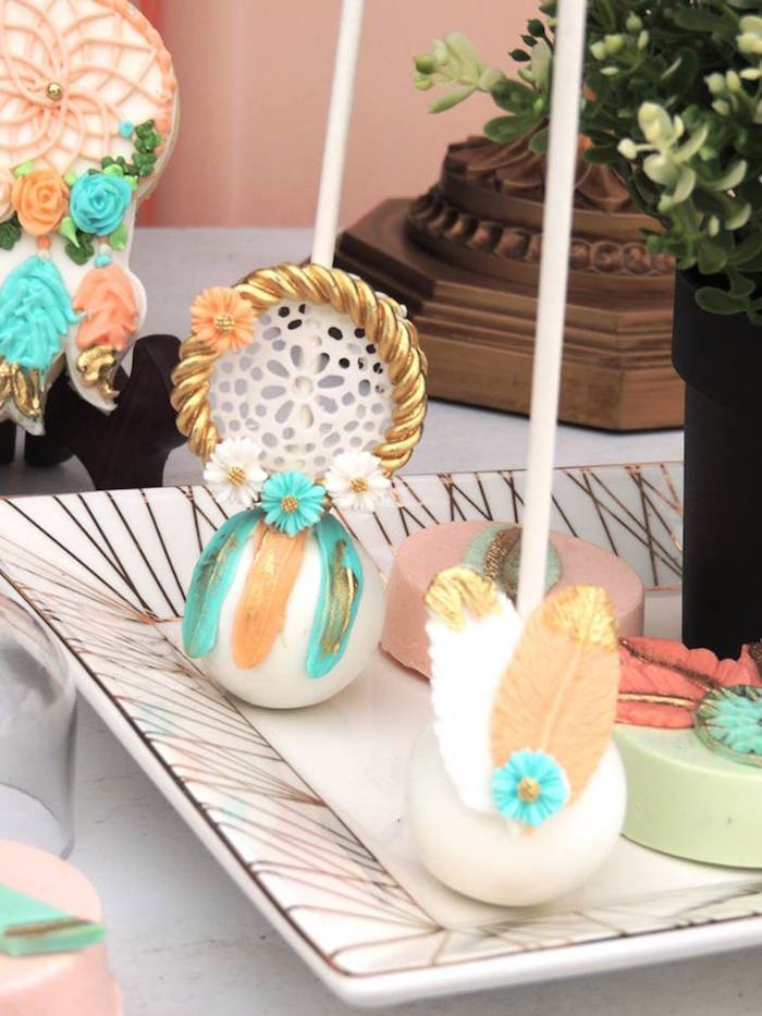 Boho cake pops from a Boho Chic Birthday Party on Kara's Party Ideas | KarasPartyIdeas.com (8)