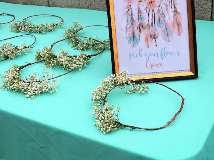 Flower crowns from a Boho Chic Birthday Party on Kara's Party Ideas | KarasPartyIdeas.com (7)