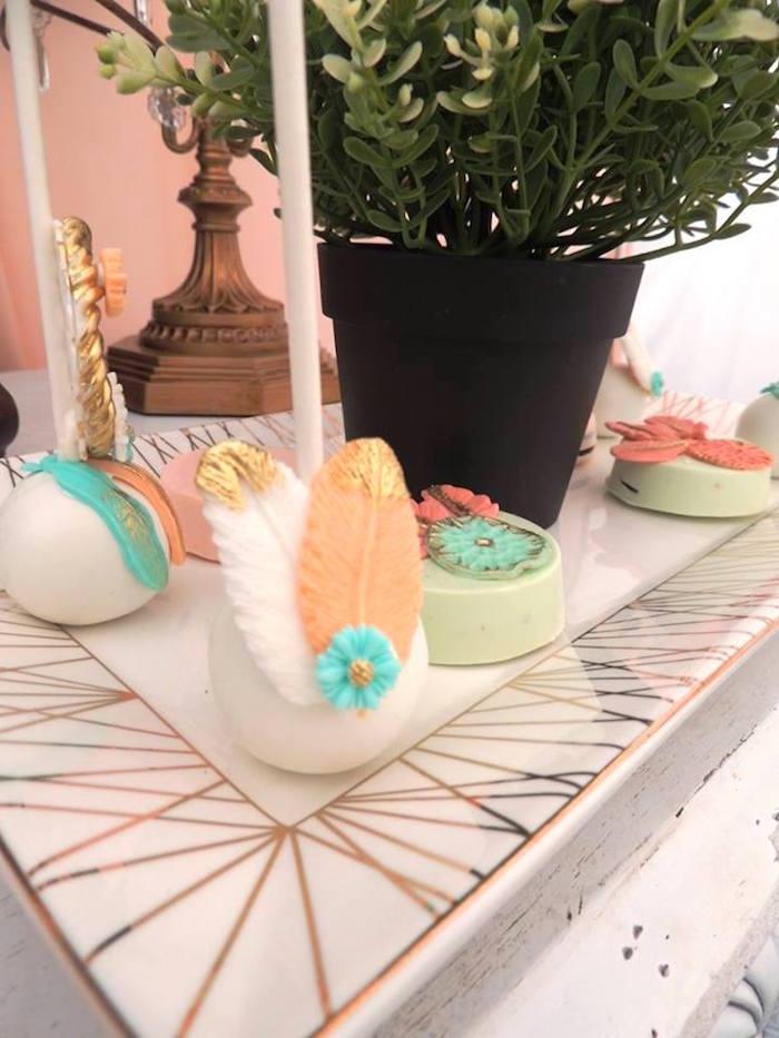 Feathered cake pop from a Boho Chic Birthday Party on Kara's Party Ideas   KarasPartyIdeas.com (6)