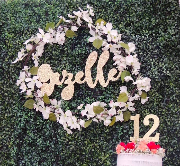 Flower garland wreath from a Boho Chic Birthday Party on Kara's Party Ideas | KarasPartyIdeas.com (21)