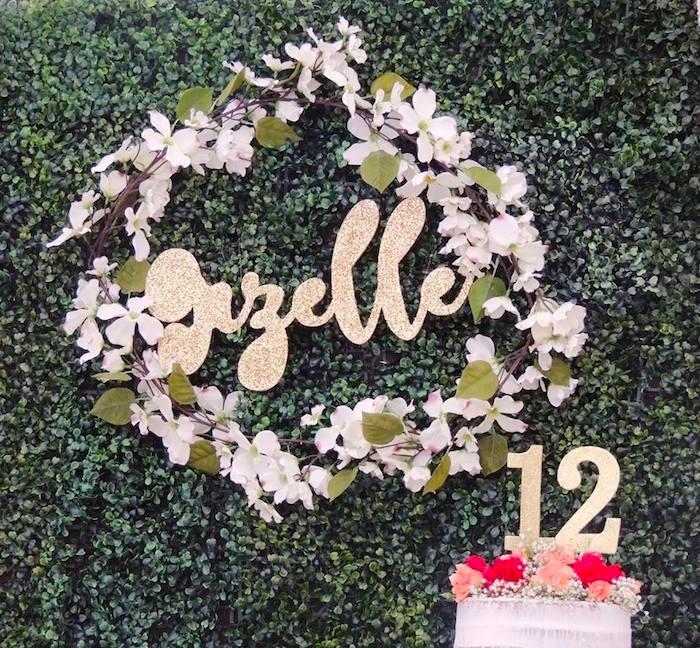 Flower garland wreath from a Boho Chic Birthday Party on Kara's Party Ideas   KarasPartyIdeas.com (21)