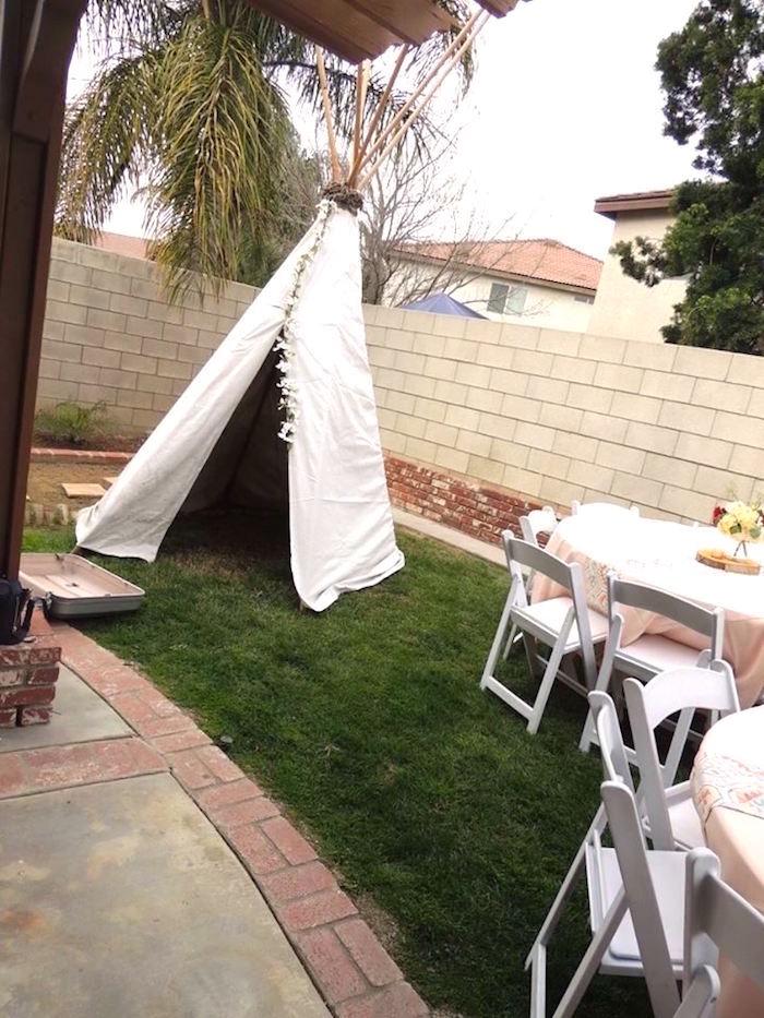 White boho teepee from a Boho Chic Birthday Party on Kara's Party Ideas   KarasPartyIdeas.com (20)
