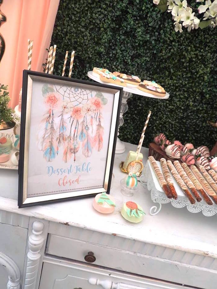 Dessert table print from a Boho Chic Birthday Party on Kara's Party Ideas | KarasPartyIdeas.com (19)