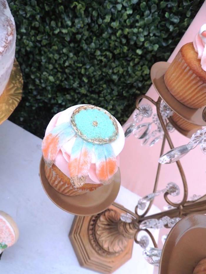 Boho cupcake from a Boho Chic Birthday Party on Kara's Party Ideas   KarasPartyIdeas.com (17)