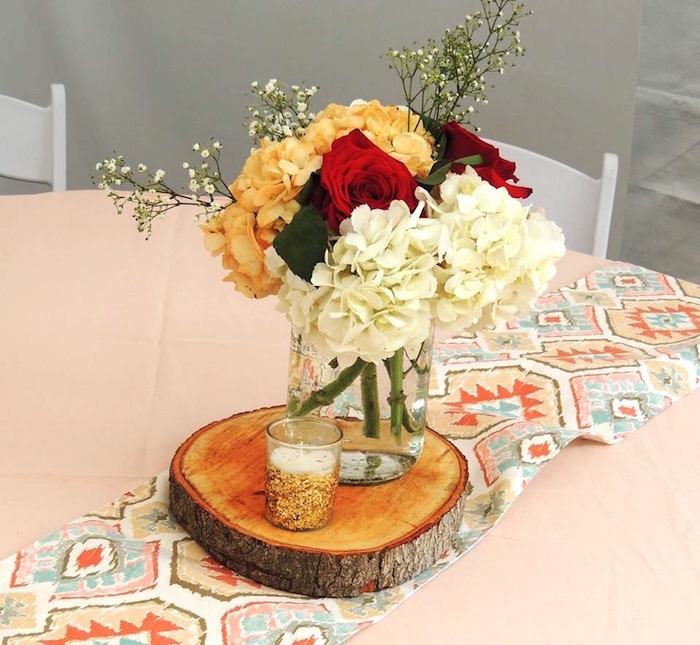 Guest table decor from a Boho Chic Birthday Party on Kara's Party Ideas | KarasPartyIdeas.com (15)
