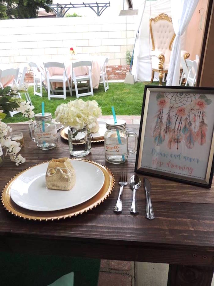 Place setting from a Boho Chic Birthday Party on Kara's Party Ideas | KarasPartyIdeas.com (14)