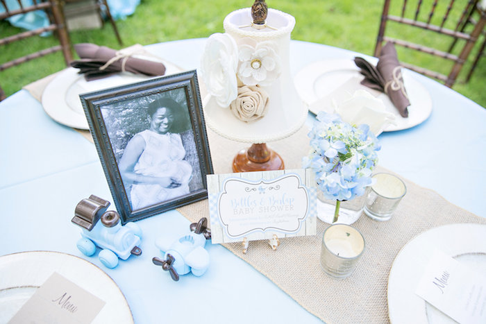 Guest tabletop + decor from a Bottles and Burlap Baby Shower on Kara's Party Ideas | KarasPartyIdeas.com (34)
